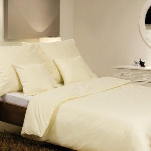 Posteľné prádlo - jednofarebný bavlnený satén svetložltý