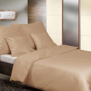 Posteľné prádlo - jednofarebný bavlnený satén svetlohnedý