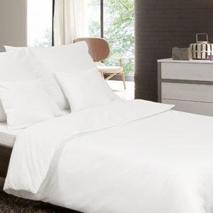 Posteľné prádlo - jednofarebný bavlnený satén biely
