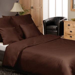 Posteľné prádlo pre dvoch - bavlnený satén čokoláda