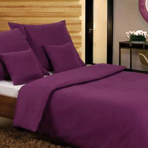 Posteľné prádlo pre dvoch - bavlnený satén fialový